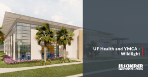 "Rendering image of the new Wildlight Community with text reading ""UF Health and YMCA - Wildlight"""